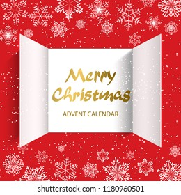 Christmas advent calendar doors open and golden letters. White snowflakes on a red background. Vector illustration