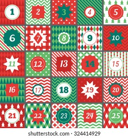 Christmas advent calendar with geometric seamless patterns in Red, Green and White. Chevron, Polka dot, Gingham, Argyle, Harlequin, Fir Trees, Triangles, Diagonal Stripes, Diamonds, Plaid