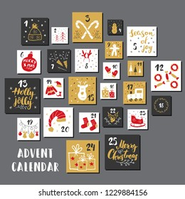 Christmas advent calendar. Hand drawn elements and numbers. Winter holidays calendar cards set design, Vector illustration.