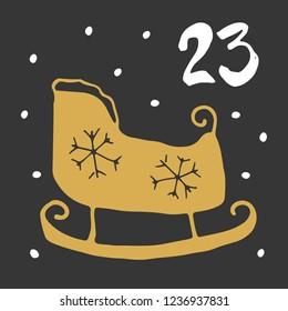 Christmas advent calendar. Hand drawn elements and numbers. Winter holidays calendar card design, Vector illustration.