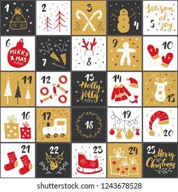 Christmas advent calendar. Hand drawn elements and numbers. Winter holidays calendar cards set design, Vector illustration.