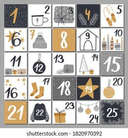 Christmas advent calendar with hand drawn elements - pine, socks, coffee cup, gift, candle. Scandinavian style christmas poster. Cute winter illustration for card, poster, kid room decor, nursery art.