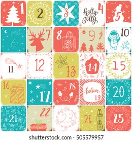 Christmas advent calendar. Hand drawn modern design elements and calligraphy.