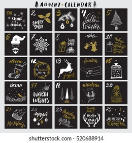 Christmas advent calendar with hand drawn gold glitter textured design elements and handwritten modern brush pen calligraphy. Vector printables set. White, black, golden colors.