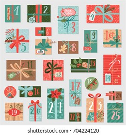 Christmas advent calendar, hand drawn style. Vector illustration.