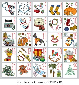 Christmas Advent Calendar with Holiday Elements and Animals. Hand Drawn Winter Illustration.
