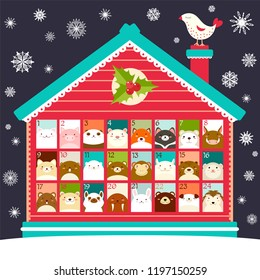 Christmas advent calendar with house and cute animals icons with numbers. Merry Christmas design. EPS8