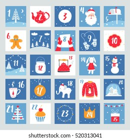 Christmas Advent Calendar or Poster. Winter Holidays Design Elements