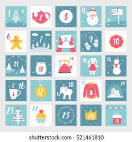 Christmas Advent Calendar or Poster. Winter Holidays Design Elements. Countdown Calendar.
