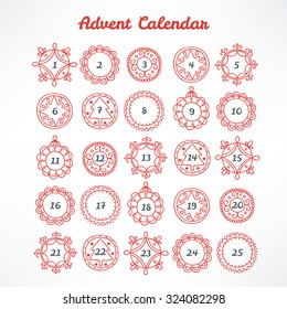 Christmas Advent Calendar with red contour frames