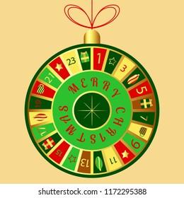 Christmas advent calendar. Round Christmas tree toy. Star of Bethlehem, gift box, cup of tea, Christmas tree, star, numbers