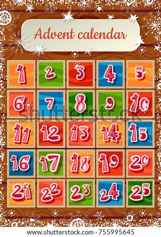 Christmas Advent Calendar Snow On Wooden Stock Vector Royalty Free