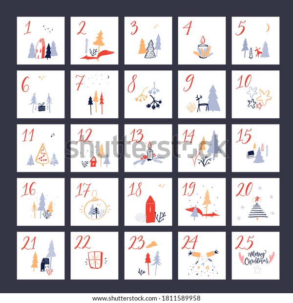 Christmas advent calendar. Square layout with hand drawn countdown numbers, cute illustrations of trees, animals and houses. Vector poster design.