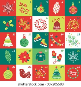Christmas Advent Calendar with star, cookie, ball, cone, berries, bauble, poinsettia, fir branches, wreath, bell, swirl, fir tree, skates, garland, sweater, mittens, snowflake, bird and confetti