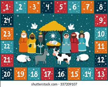 Christmas advent calendar with traditional nativity scene. Bright holiday background in cartoon style.