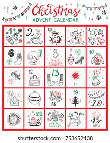 Christmas Advent Calendar. Vector Winter Holidays poster