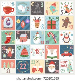 Christmas advent calendar. Winter holidays poster with cute rabbit, fox, owl, bear, deer and Santa. Vector illustration