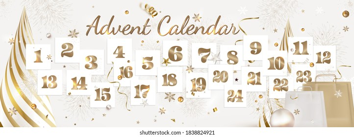 Christmas advent calendar.Paper sheets with number of the day of december, confetti, decorations on a white. New Year 2021.Horizontal banner.