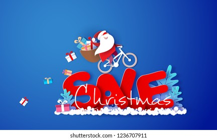 Christmas advertising design. Santa Claus with gift boxex riding a bike over big letters SALE on blue background. Vector paper cut art illustration for promotion banners, headers, posters, stickers