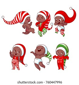 Christmas african american babies with different emotions in various festive costumes. Vector cartoon illustration.
