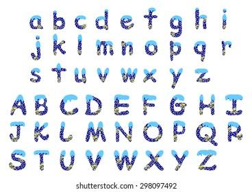 Christmas alphabet a-z,A-Z - vector illustration
