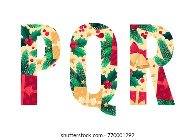 Christmas alphabet set. Green fir branches, holly leaves, berries, gift boxes, golden bells with red bow, stars. Retro vector letters P, Q, R