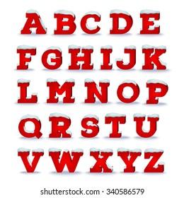 Christmas alphabet with snow cap effect. EPS 10 vector illustration, transparent shadow
