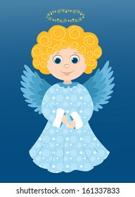 Christmas angel in the blue. Cartoon vector illustration.