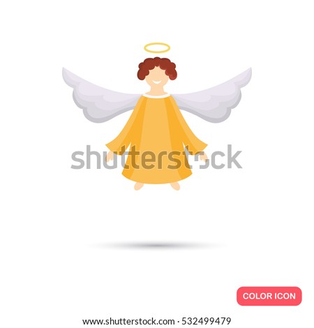 Christmas Angel Color Icon Flat Design Stock Vector (Royalty Free ...
