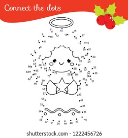 Christmas angel connect the dots game. Dot to dot by numbers educational game for kids. New year theme printable activity for toddlers.