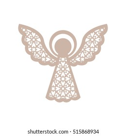 Christmas angel with geometric pattern. Laser Cutting template for greeting cards, envelopes, invitations, interior elements. Vector xmas paper cutting ornamental panel. Die cut card.