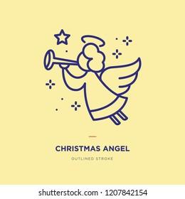 Christmas Angel Line Icon