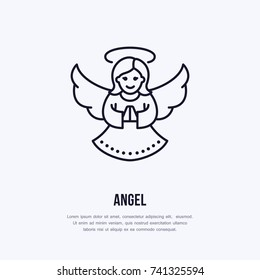 Christmas angel, new year decoration flat line icon. Winter holidays vector illustration. Sign of holly woman with wings.