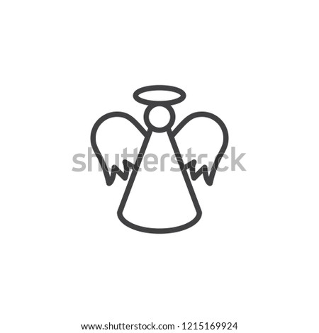 Christmas Angel Outline Icon Linear Style Stock Vector Royalty Free