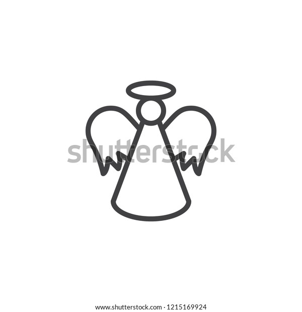 Christmas Angel Outline Icon Linear Style Stock Vector