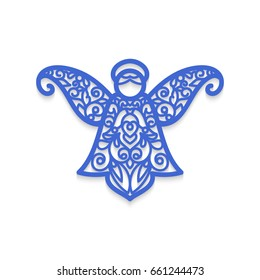 Christmas angel with pattern. Vector Laser cutting template for greeting cards.
