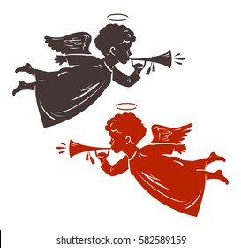 Christmas Angel plays the trumpet. Silhouette, vector illustration