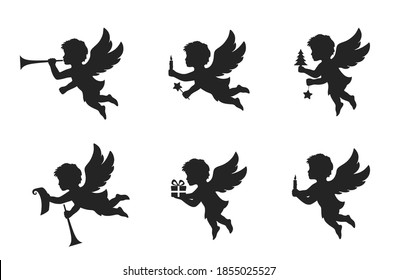 christmas angel set. christmas and religion symbols. angel with trumpet and paper scroll, angel with gift, angel with candle and star. isolated vector black silhouette image