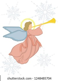 Christmas angel with trumpet, minimalist design, decoration, card.