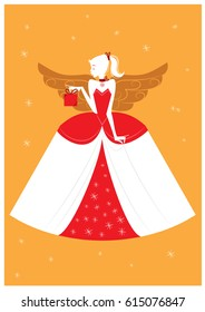 Christmas Angel Woman Silhouette - flat illustration