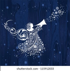 Christmas Angels. All elements and textures are individual objects. Vector illustration scale to any size.