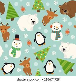 Christmas animal seamless pattern