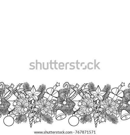christmas ans new year seamless horizon border winter square black and white wallpaper for greeting