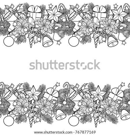 christmas ans new year seamless horizon double border winter square black and white wallpaper for