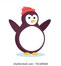 Christmas antarctic penguin waving wings and smiling. Cute cartoon xmas pinguin in red beanie hat standing and spreading hands for hug.