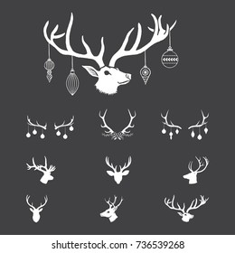 Christmas Antlers - Vector antlers with Christmas Ornaments