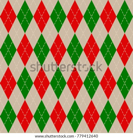 Christmas Argyle Knit Pattern Red Green Stock Vector Royalty Free