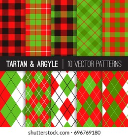 Christmas Argyle, Tartan and Buffalo Check Plaid Vector Patterns. Traditional Red, Black, Green and White Winter Holiday Backgrounds. Vector Pattern Tile Swatches Included.