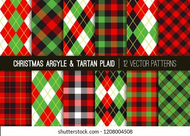 Christmas Argyle and Tartan Plaid Seamless Vector Patterns. Traditional Red, Green, Black,and White Winter Holiday Backgrounds. Vector Pattern Tile Swatches Included.