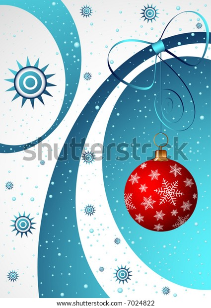 Christmas art illustration with the element of New-Year tree decorations.